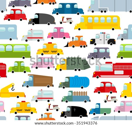 Car seamless pattern. Background of transport in cartoon style. Many small toy cars. Cute transport Texture for baby fabric. School bus and taxi. Tow truck and garbage truck. - stock photo