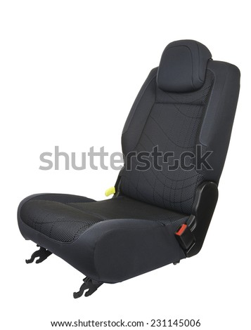 Car seat isolated on white background - three quart front view - stock photo