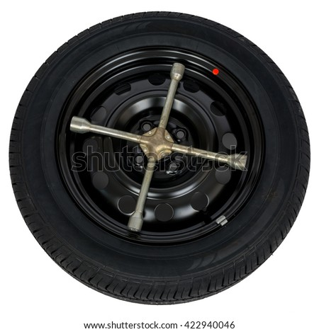 Car service concept, tire with screwdriver. Top view, isolated on white - stock photo