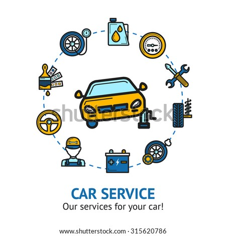 Car service concept with auto repair and maintenance decorative icons set  illustration - stock photo