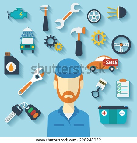 Car service concept with flat icons and mechanic. Raster version - stock photo