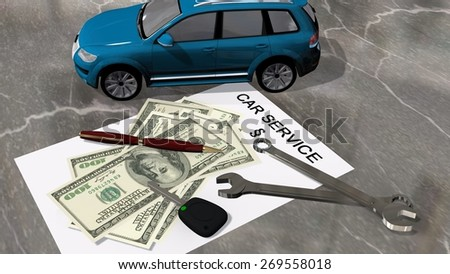 Car Service Contract Car Money Wrench Stock Illustration