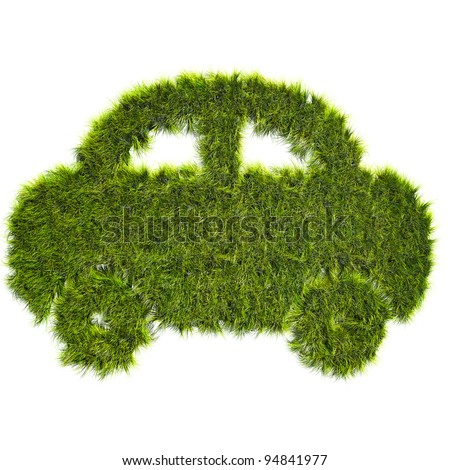 Car shaped grass patch - ecological transport concept - stock photo