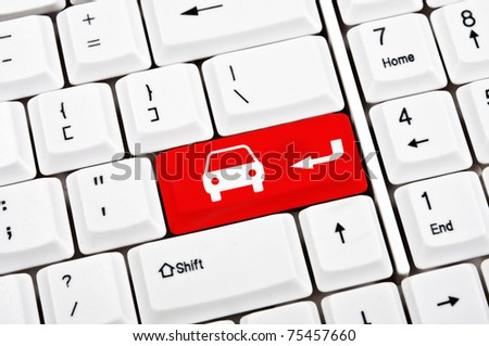 Car sign in place of enter key - stock photo