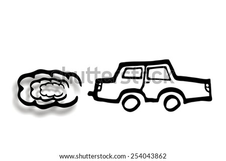 car silhoutte with exhaust smoke - stock photo