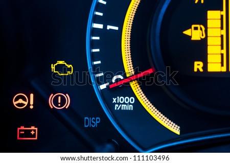 Car speed meter closeup in vibrant colors - stock photo