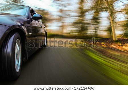 Car speeding.