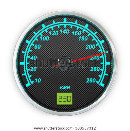Car speedometer illuminated on a white background.