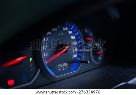 car speedometer with blue HUD