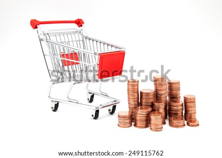 car supermarket with coins on a white background - stock photo