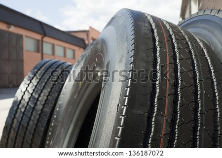 Car tire background close up - stock photo