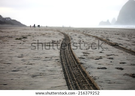Car tire tracks on a beach - stock photo