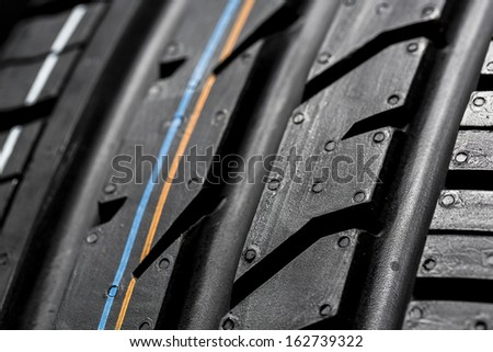 Car tires close-up wheel profile structure