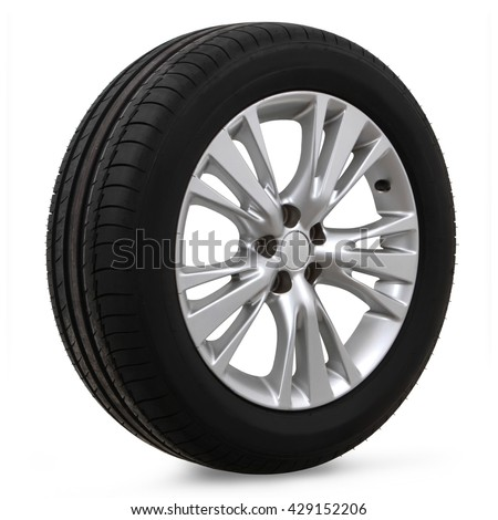 car tires on a white background - stock photo