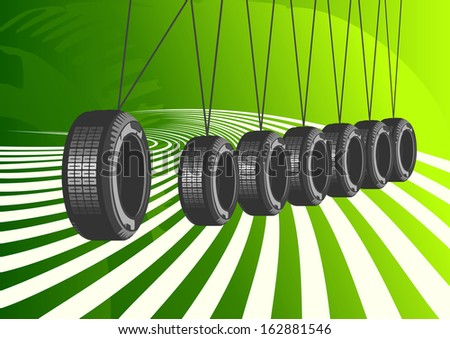 Car Tires On Green Background - stock photo