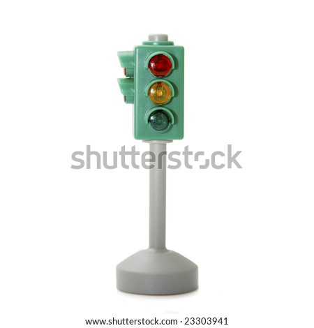 Car traffic light isolated on white background - stock photo