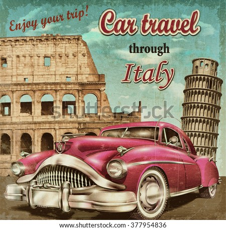 Car travel retro poster. - stock photo