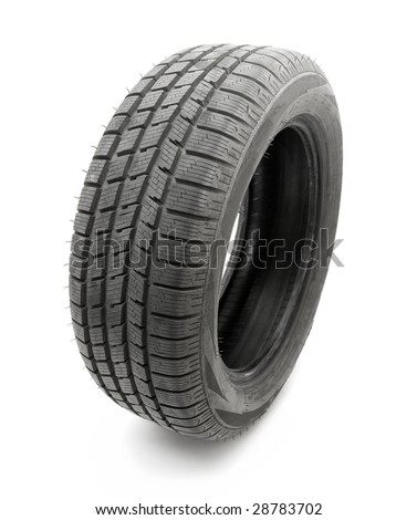 Car tyre isolated on white background - stock photo