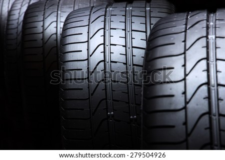 Car tyres close up - stock photo