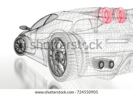 Car vehicle 3d blueprint mesh model ilustracin en stock 724550905 car vehicle 3d blueprint mesh model on a white background 3d rendered image malvernweather Image collections