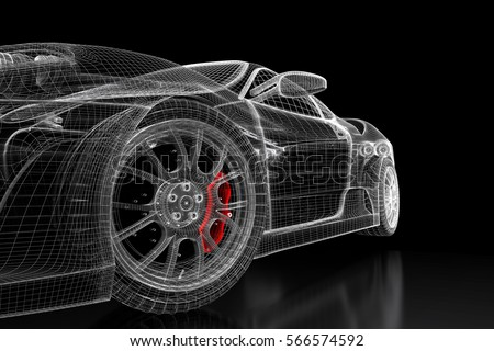Car vehicle 3d blueprint mesh model stock illustration 566574592 car vehicle 3d blueprint mesh model with a red brake caliper on a black background malvernweather Choice Image