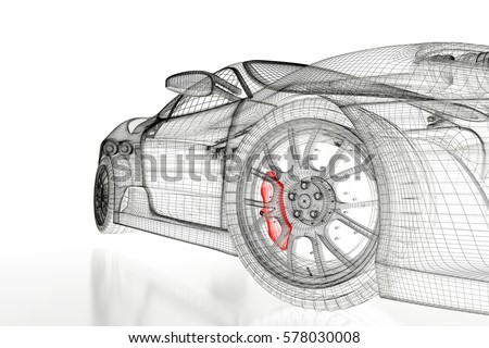 Car vehicle 3d blueprint mesh model stock illustration 578030008 car vehicle 3d blueprint mesh model with a red brake caliper on a white background malvernweather Image collections