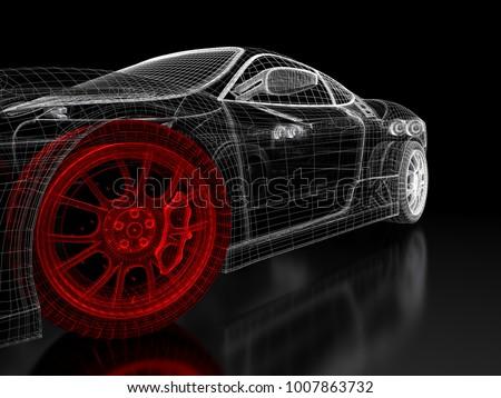 Car vehicle 3 d blueprint mesh model ilustracin de stock1007863732 car vehicle 3d blueprint mesh model with a red wheel tire on a black background malvernweather Gallery