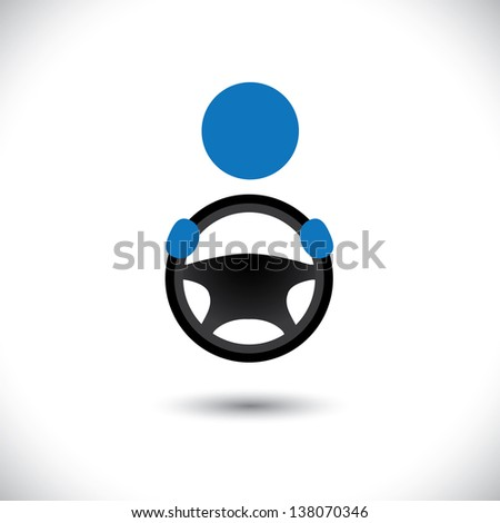 Car, vehicle or automobile driver icon or symbol- graphic. The illustration shows a cabbie icon with his hand holding the steering wheel and space for business text and business slogan - stock photo
