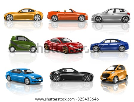 Car Vehicle Transportation 3D Illustration Concept - stock photo