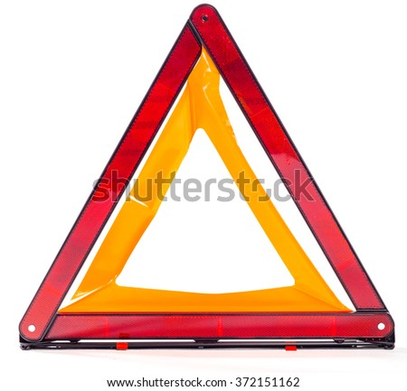 Car warning triangle isolated on white