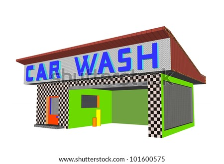 car wash building render illustration
