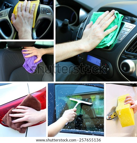 Car-wash collage - stock photo