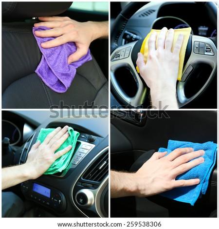 Car-wash collage - stock photo