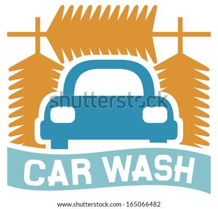 car wash sign (car wash icon, car wash symbol) - stock photo