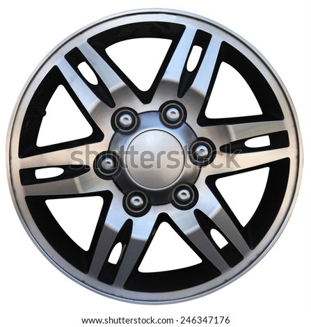 Car wheel, Car alloy rim on white background - stock photo