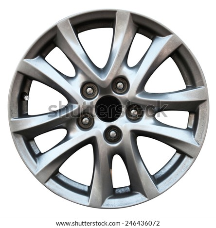 Car wheel, Car alloy rim on white background  - stock photo