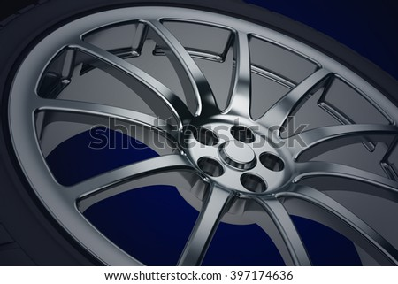 Car wheel. 3d illustration - stock photo