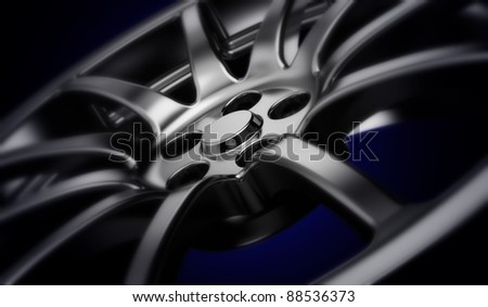Car wheel. 3d illustration - stock photo