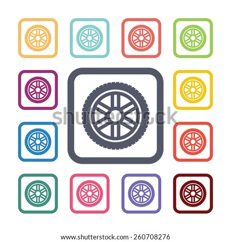 car wheel flat icons set. Open colorful buttons - stock photo