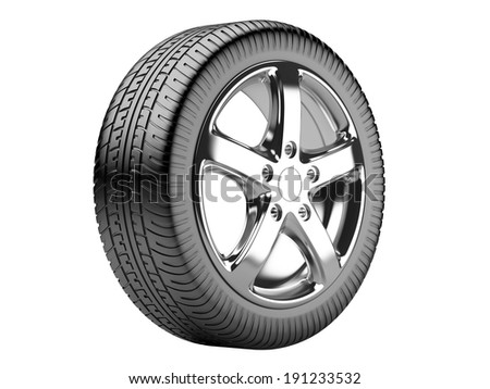 Car wheel isolated on a white background. 3d illustration high resolution - stock photo