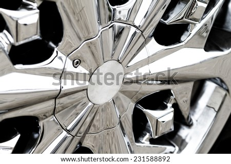 Car wheel on a car - close-up photo - stock photo