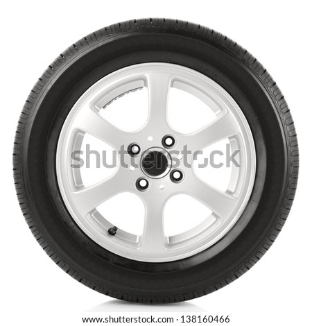 Car wheel on white background - stock photo