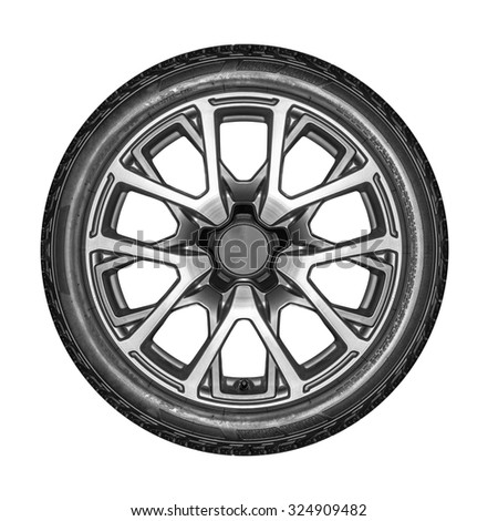 Car wheel. Unbranded car alloy wheel isolated on a white background. - stock photo