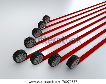 Car wheels creating a red stripes path - stock photo