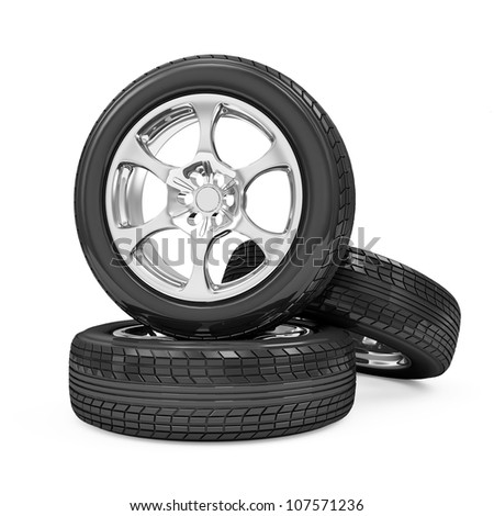 Car Wheels isolated on white background - stock photo