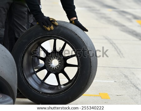 Car wheels on white background. Close up - stock photo