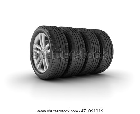 Car Wheels on White Background  - High Quality 3D Rendering