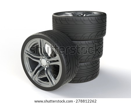 Car Wheels, tires with shadow on white background. 3D render - stock photo