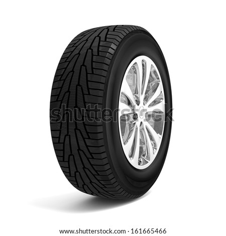 Car winter tire isolated on white background - stock photo