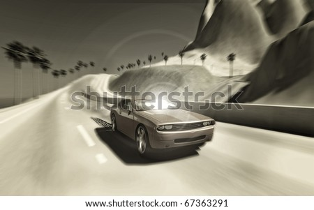 car with motion blur on an ocean speedway - stock photo